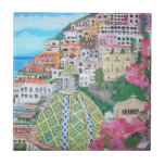 """Positano, Italy tile<br><div class=""""desc"""">Positano is at the center of the famous Amalfi Coast and south of Naples. The view of Positano from the beach is unique and offers a perspective of just how precarious some of these buildings are as they cling to the side of the mountain, taking up every square inch of...</div>"""