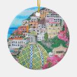 Positano, ornamento de Italia Adorno Navideño Redondo De Cerámica