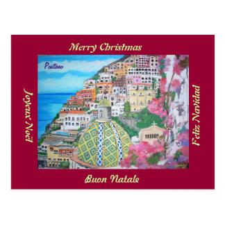 Positano, postal del navidad de Italia