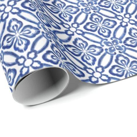 Positano Vintage Italian Blue White Tiles Pattern Wrapping Paper