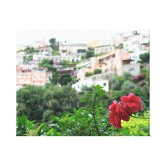 Positano with Flower Canvas Print