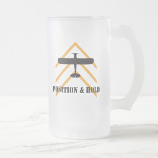 Position And Hold Airplane Frosted Glass Beer Mug