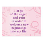 Positive Affirmation Letting Go Of Pain And Anger Postcards