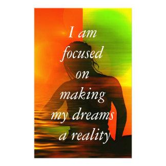 Positive Affirmation motivation about Dreams Stationery