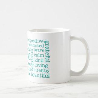 Positive Affirmations I AM Statements Aqua Classic White Coffee Mug