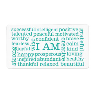Positive Affirmations I AM words for Success Label