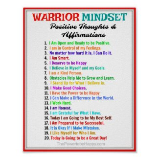 Positive Affirmations Poster - Warrior Mindset