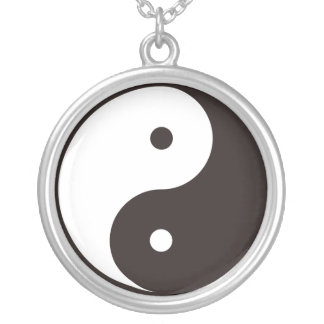 Positive and negative principles tune ball 巴 silver plated necklace