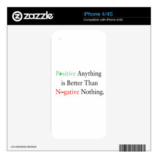 Positive anything is better than negative nothing. iPhone 4S skin