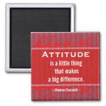 Positive Attitude-Churchill Quotation - Motivation 2 Inch Square Magnet