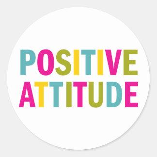 Positive Attitude in bright colors Classic Round Sticker