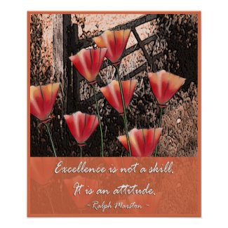 Positive attitude words - Excellence print