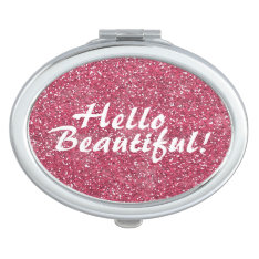 Positive Beautiful Affirmation Pink Glitter Mirror For Makeup at Zazzle