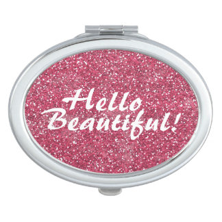 Positive Beautiful Affirmation Pink Glitter Mirror For Makeup
