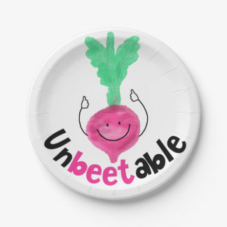 Positive Beet Pun - Unbeetable Paper Plate