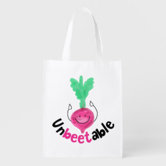 Positive Beet Pun - Unbeetable Reusable Grocery Bag