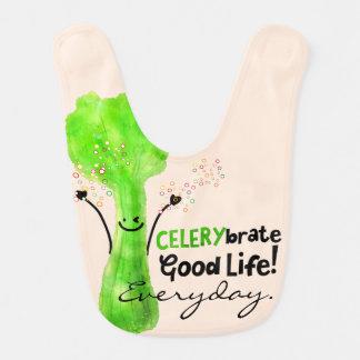 Positive Celery Pun - Celerybrate Good Life Baby Bib
