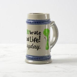 Positive Celery Pun - Celerybrate Good Life Beer Stein