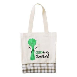 Positive Celery Pun - Celerybrate Good Life Zazzle HEART Tote Bag