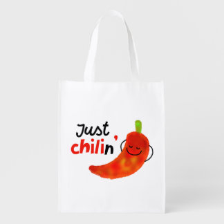 Positive Chili Pepper Pun - Just Chilin Reusable Grocery Bag