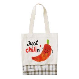 Positive Chili Pepper Pun - Just Chilin Zazzle HEART Tote Bag