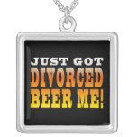 Positive Divorce Gift Ideas : Divorced Beer Me Square Pendant Necklace