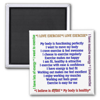 Positive Exercise Affirmations 2 Inch Square Magnet