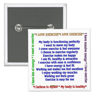 Positive Exercise Affirmations Pinback Button