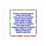 Positive Exercise Affirmations Post Cards