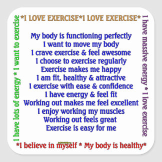 Positive Exercise Affirmations Square Stickers