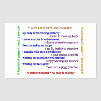 Positive Exercise Affirmations Rectangle Stickers