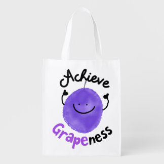 Positive Grape Pun - Achieve Grapeness Reusable Grocery Bag
