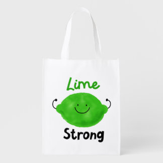 Positive Lime Pun - Lime Strong Reusable Grocery Bag