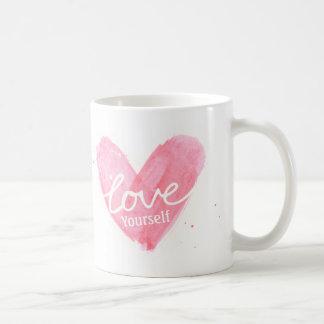 Positive Love Yourself Typography Heart Mug