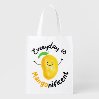 Positive Mango Pun - Everyday is Mangonificent Grocery Bag