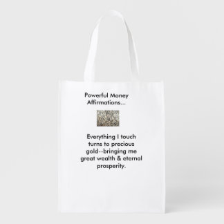 Positive Money Affirmation Tote bag Reusable Grocery Bags