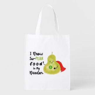 Positive Pear Pun - I Grow SuPear Food Grocery Bag