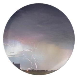 Positive Pink Lightning On the Prairie Melamine Plate