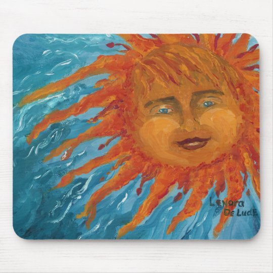 Positive, Smiling Orange Sun From Acrylic Painting Mouse Pad
