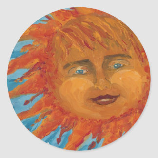 Positive Smiling Orange Sun From Acrylic Painting Stickers