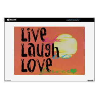 """Positive Sunshine Live Laugh Love Quote 15"""" Laptop Skins"""