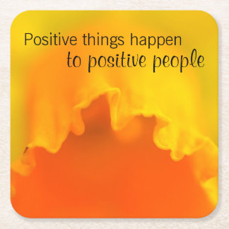 Positive Things Inspiring Yellow Daffodil Quote Square Paper Coaster