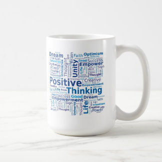 Positive Thinking Word Cloud - Blue Colors Coffee Mug
