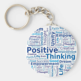 Positive Thinking Word Cloud - Blue Colors Keychain