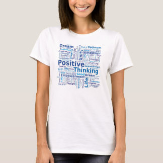 Positive Thinking Word Cloud - Blue Colors T-Shirt
