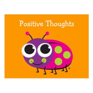 Positive Thoughts Cute Ladybug Card
