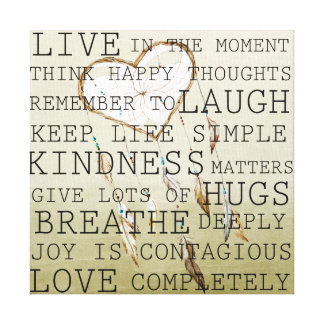 Positive Thoughts Dream Catcher Canvas Print