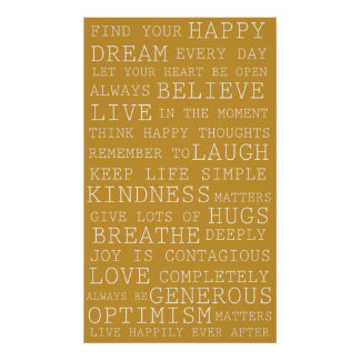 Positive Thoughts  (gold) Poster