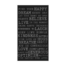 Positive Thoughts Inspirational Words Gallery Wrapped Canvas