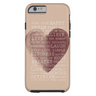 Positive Thoughts Watercolor Heart Tough iPhone 6 Case